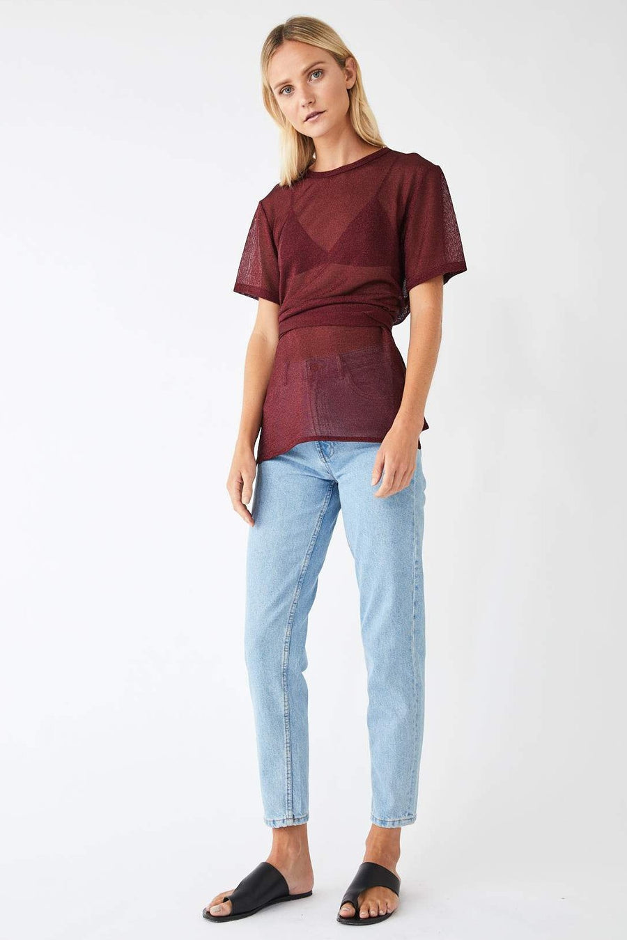 Motion Metallic Tee / Merlot