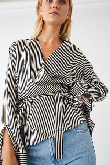Rational Wrap Blouse / Black & White Stripe