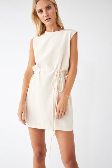 Collapse Back Mini Dress / Powder Pink