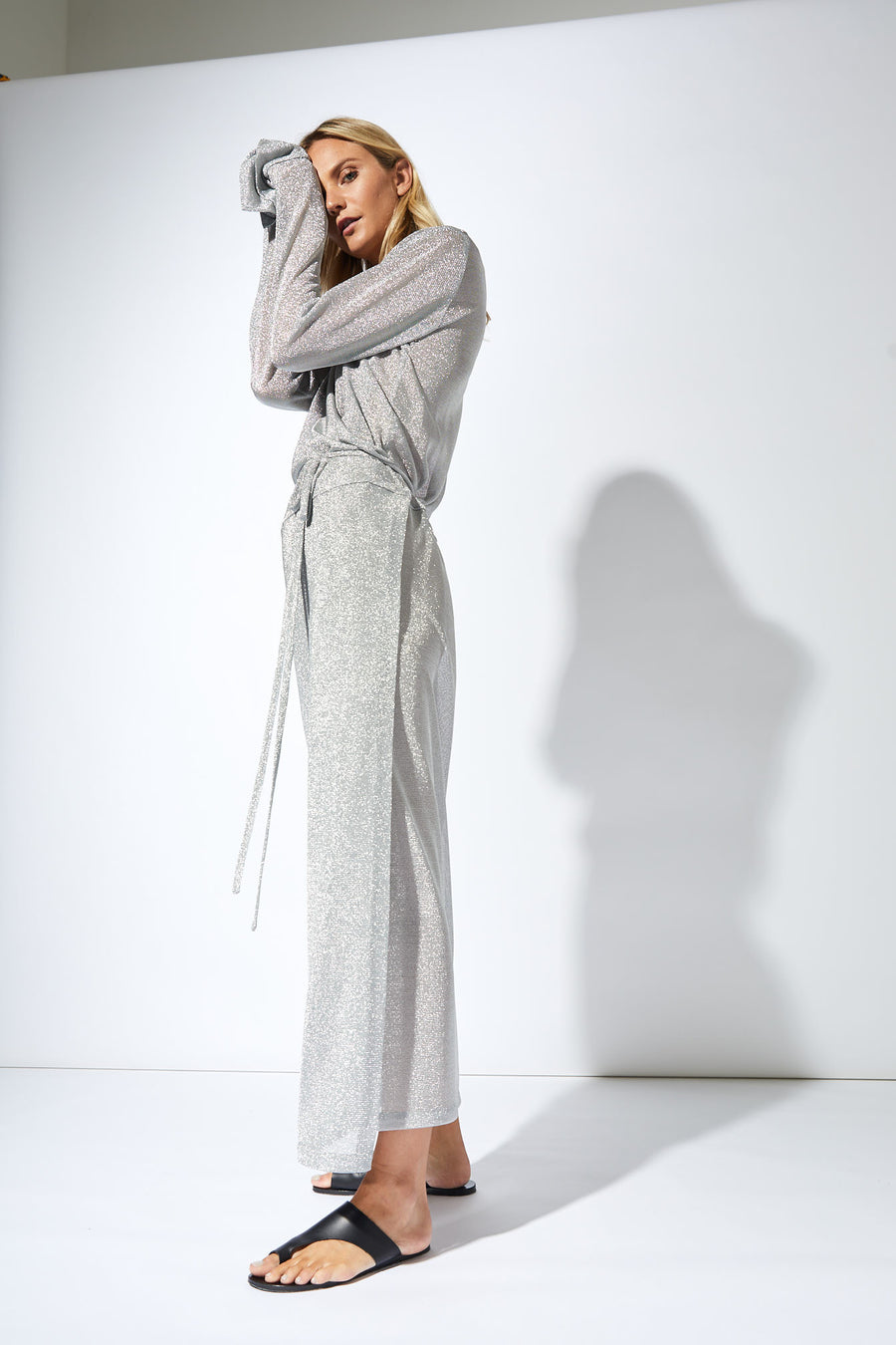 Formation Metallic Full Wrap Dress / Silver
