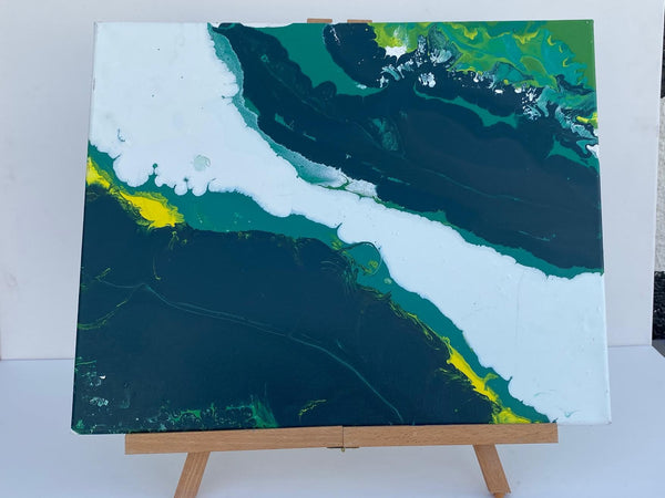 Shades of Green Drip Painting