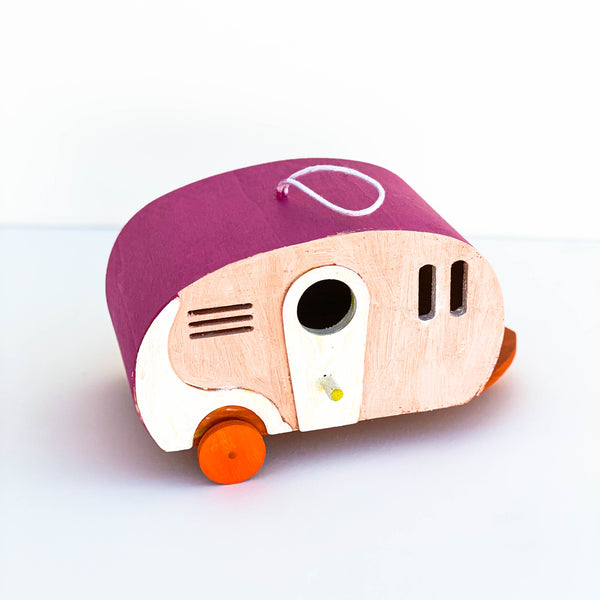 Painted Wooden Retro Trailer Birdhouse - Pink & Orange - Small