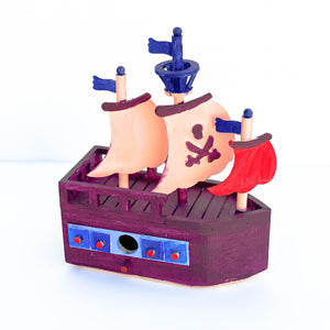 Wooden Bird Pirate Ship Bird House