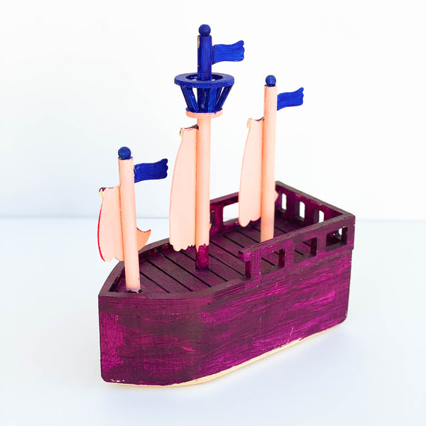 Painted Wooden Pirate Ship - Purple, Pink, & Blue - Large