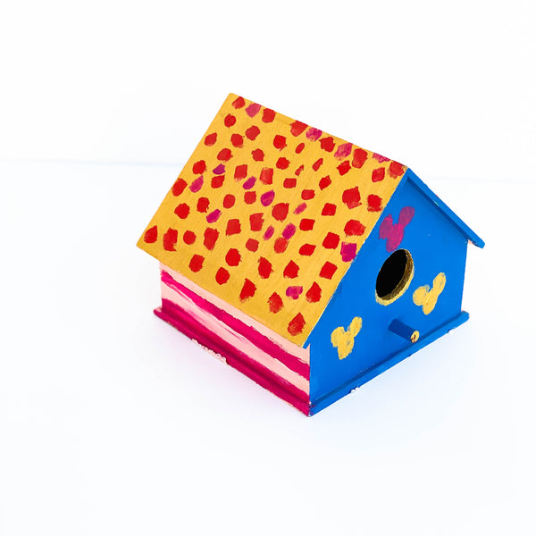 "Painted Wooden Birdhouse - ""Blue, Pink, & Gold"" - Medium"