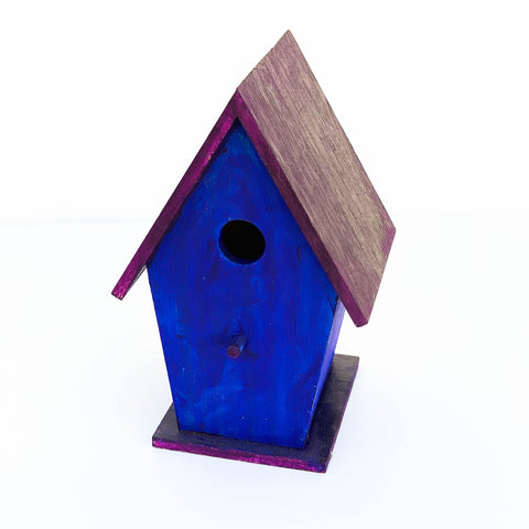 Blue & Purple Wooden Bird House