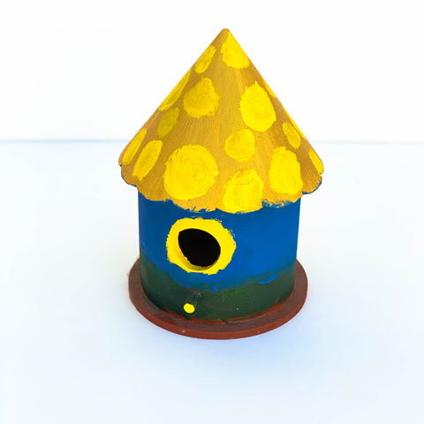 Blue, Gold, & Green Wooden Bird House