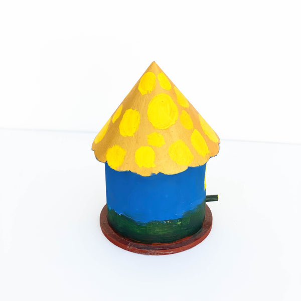 "Painted Wooden Birdhouse - ""Blue, Gold, & Green"" - Medium"