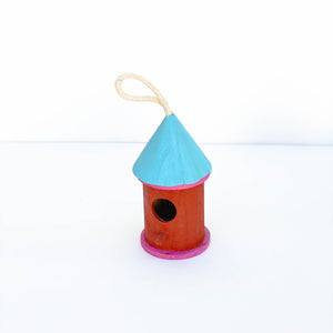 Blue & Red Wooden Bird House