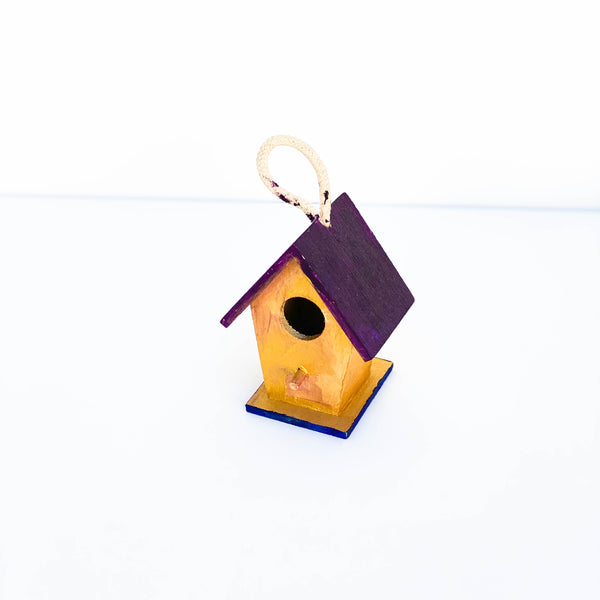 "Painted Wooden Birdhouse - ""Purple & Gold"" - Small"