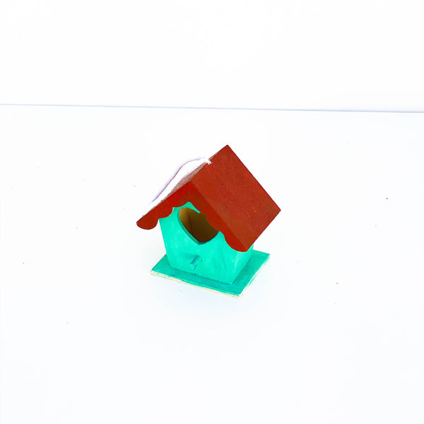 "Painted Wooden Birdhouse - ""Red & Teal"" - Small"