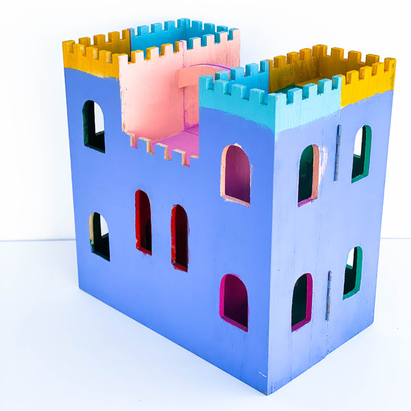 "Painted Wooden Castle Playhouse - ""Blue, Yellow, & Red"" - Large"