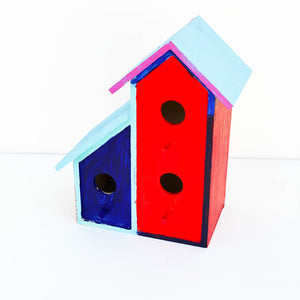 Blue, Pink, & Red Bird House