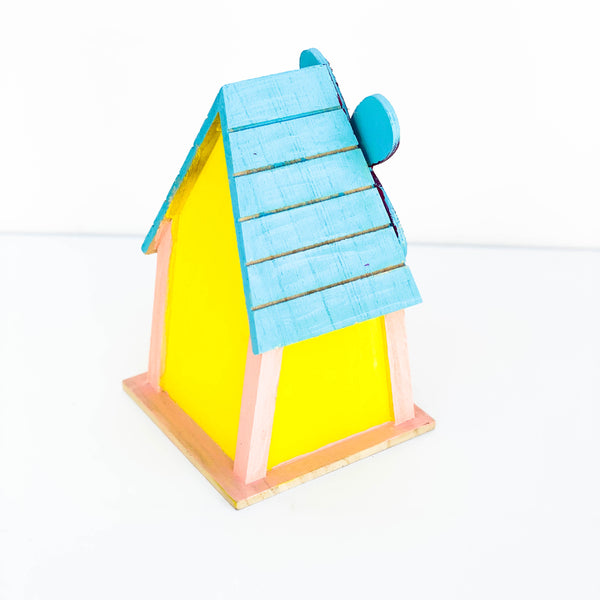 "Painted Wooden Bird House - ""White, Pink, & Red"" - Small"