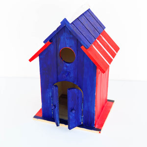 "Painted Wooden Birdhouse - ""Independence"" - Large"