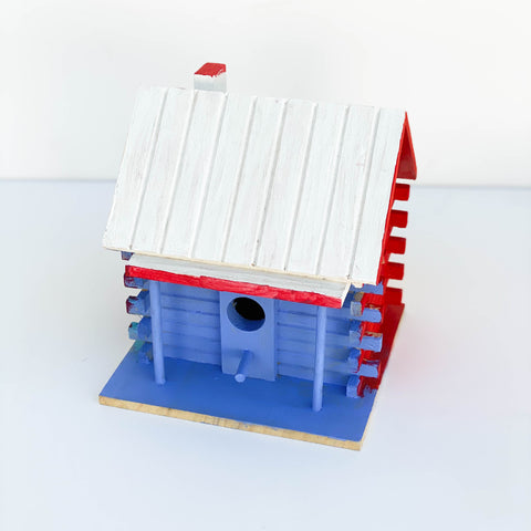 "Painted Wooden Birdhouse - ""Blue, Purple, Yellow, & White"" - Medium"