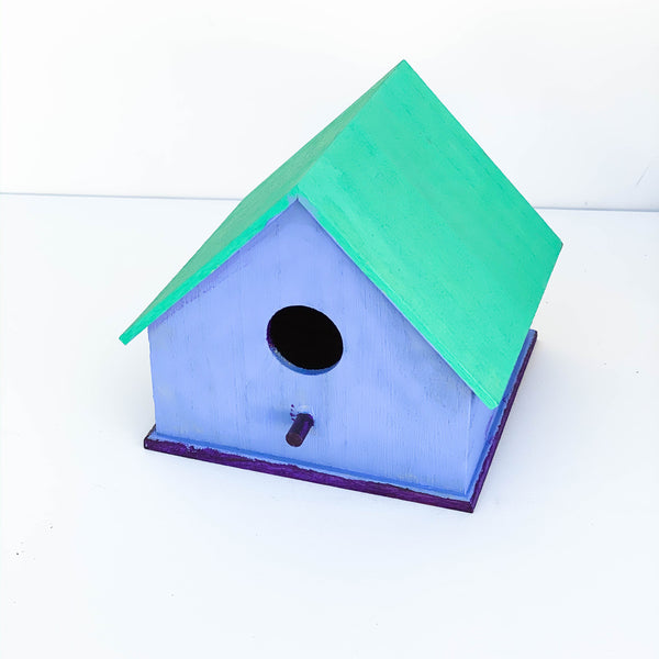 "Painted Wooden Bird House - ""Blue, Teal, & Purple"" - Medium"