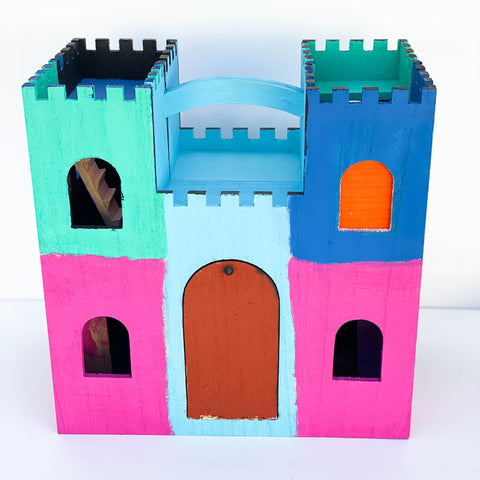 "Painted Wooden Play Castle - ""Pink, Blue, & Orange"", Large"