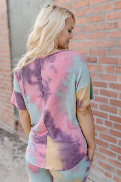 Cotton Candy Rainbow Tie Dye Top