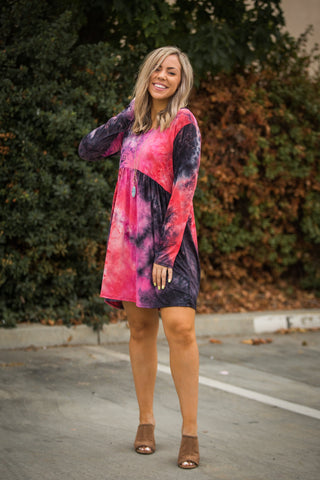 You're My Muse Dress in Black & Red Tie Dye