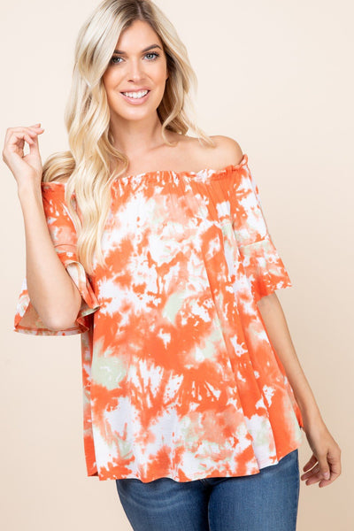 Coral Vibes Off Shoulder Top