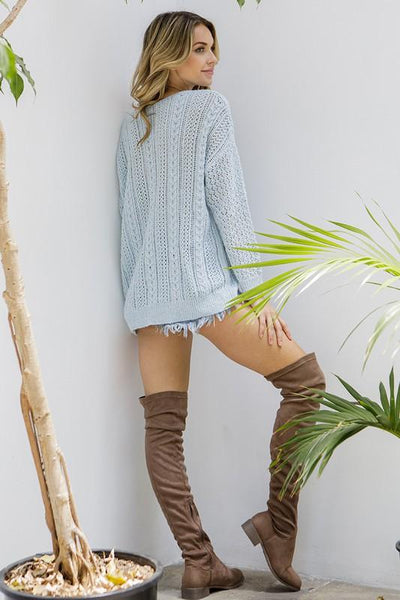 Clear Skies Cable Knit Sweater