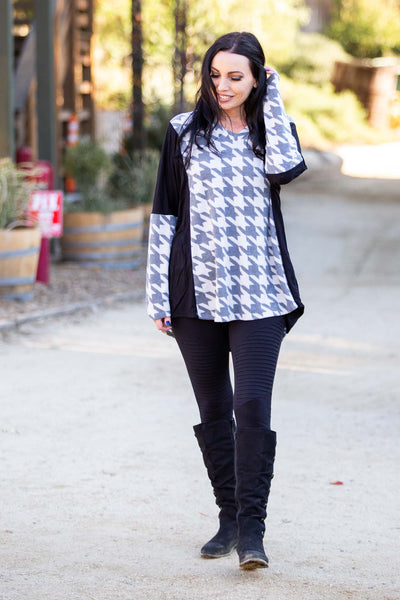 Houndstooth Long Sleeve Top