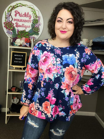 Midnight Blooms Bishop Sleeve Top