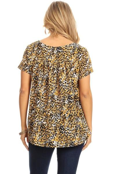 Glowing in Gold Leopard Top