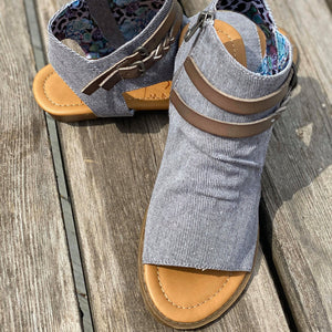 Blowfish Grey Canvas Sandals