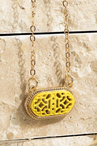Oval Filigree Necklace in Canary