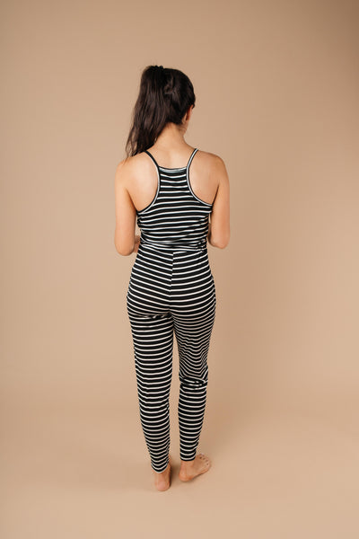 Black & White Striped Surplice Jumpsuit