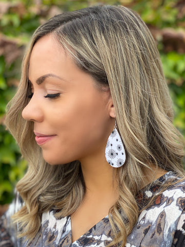 Caught In Your Web Teardrop Leather Earrings