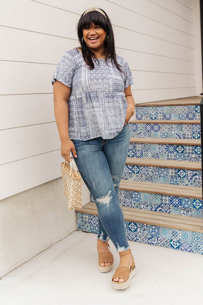 Faded Navy Folk Print Top