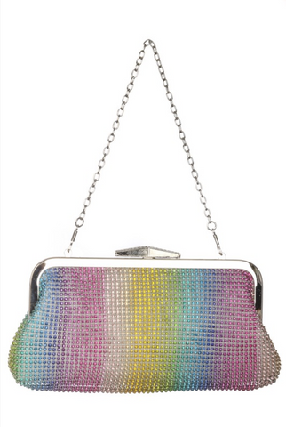 Rainbow Bright Rhinestone Clutch