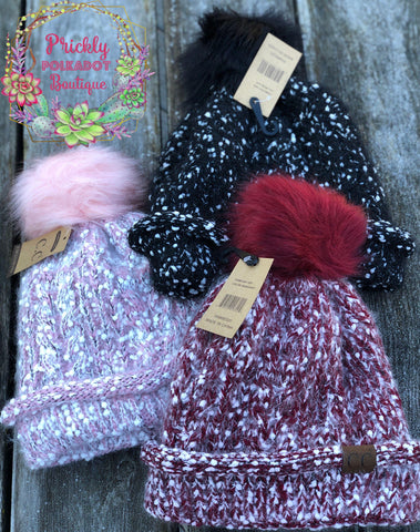 C.C. Exclusives Popcorn Knit Pom Beanie