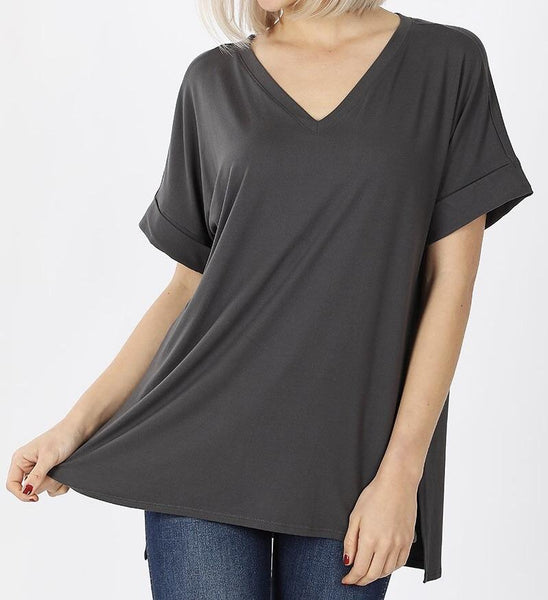 Basically Beautiful Top in Ash Gray