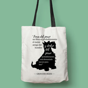 Tote bag color natural con asa negra de la colección Quotes & Co con ilustración de perro y cita de Groucho Marx.