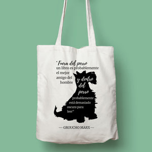 Tote bag color natural con asa natural de la colección Quotes & Co con ilustración de perro y cita de Groucho Marx.