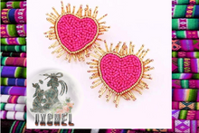 Load image into Gallery viewer, Pink Sacred Heart Earrings