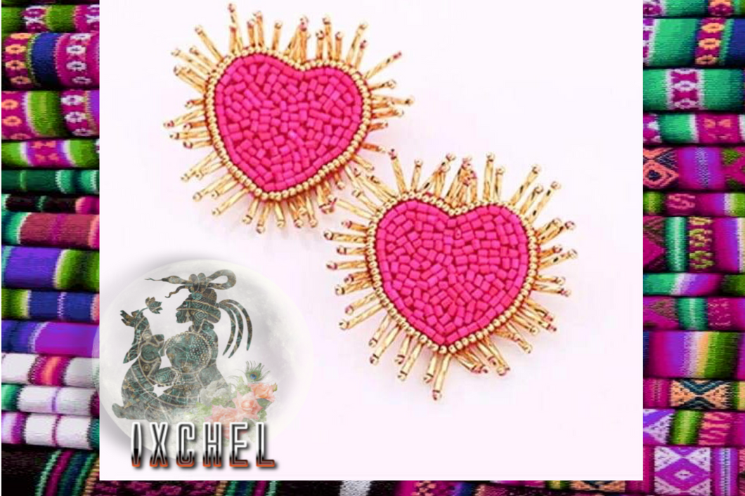 Pink Sacred Heart Earrings