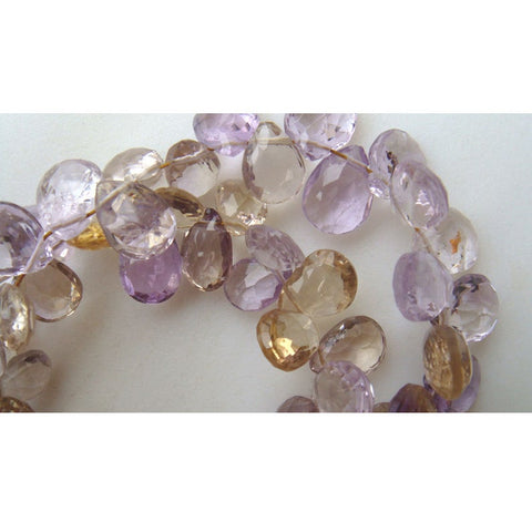 8 Inches Strand Ametrine Faceted Pear Shape 15x8mm To 11x8mm