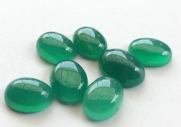 BB229 Calibrated 3x5mm Each Faceted Flat Back Gemstones Cabochon 50 Pieces Green Onyx Oval Cabochons