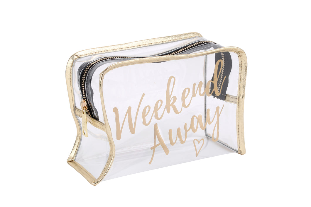 Willow & Rose Weekend Away Clear Gold Print Wash Bag