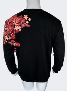 Polera Hombre Side by Side Flower - Negro