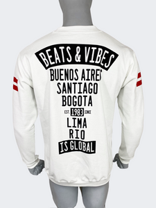 """SOLO en M"" - Polera Hombre Beats & Vibes iS Global - Blanco Vainilla"