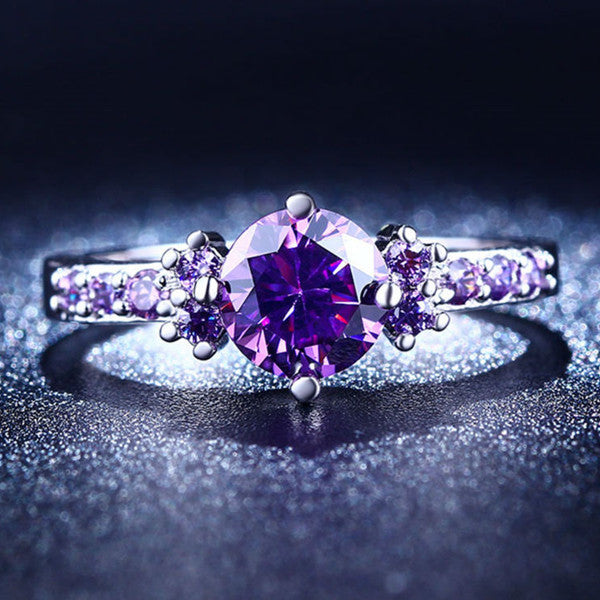 Purple Amethyst Solitaire Ring