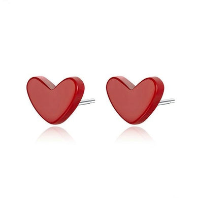 Cherry Red Stone Love Heart Ear Pins in 925 Sterling Silver - Anti Allergy