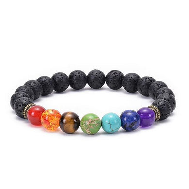 A lava bead bracelet with seven colored stones. One for each chakra.