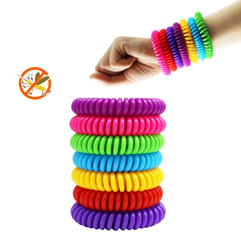 Colorful waterproof mosquito repelling bracelets.